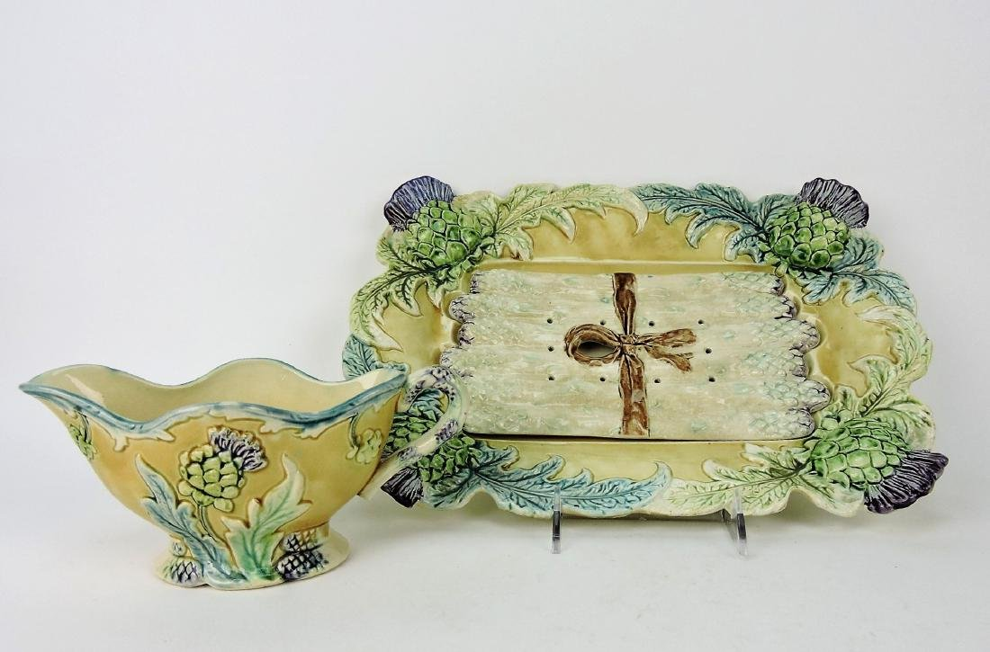 Majolica asparagus tray with insert
