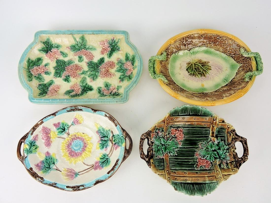 Majolica lot of 4 platters, various
