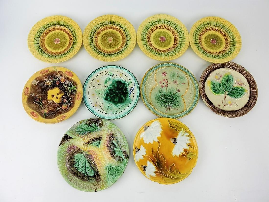 Majolica lot of 10 plates, various