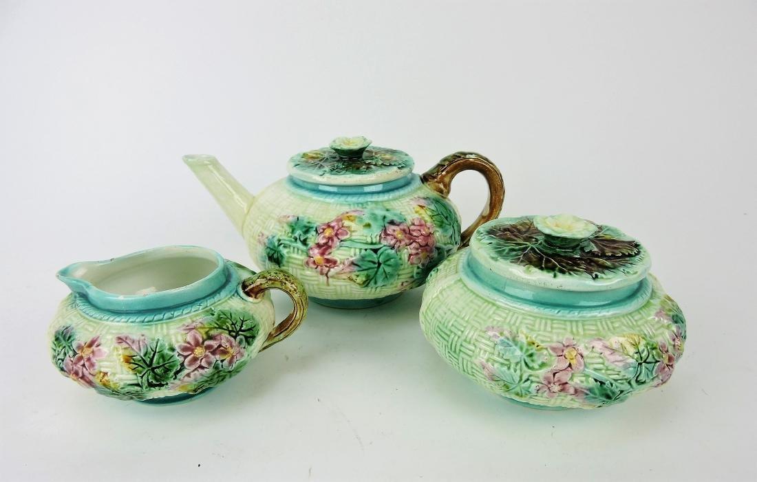Majolica 3 piece tea set, basketweave