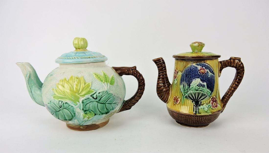 Majolica lot of 2 teapots, various