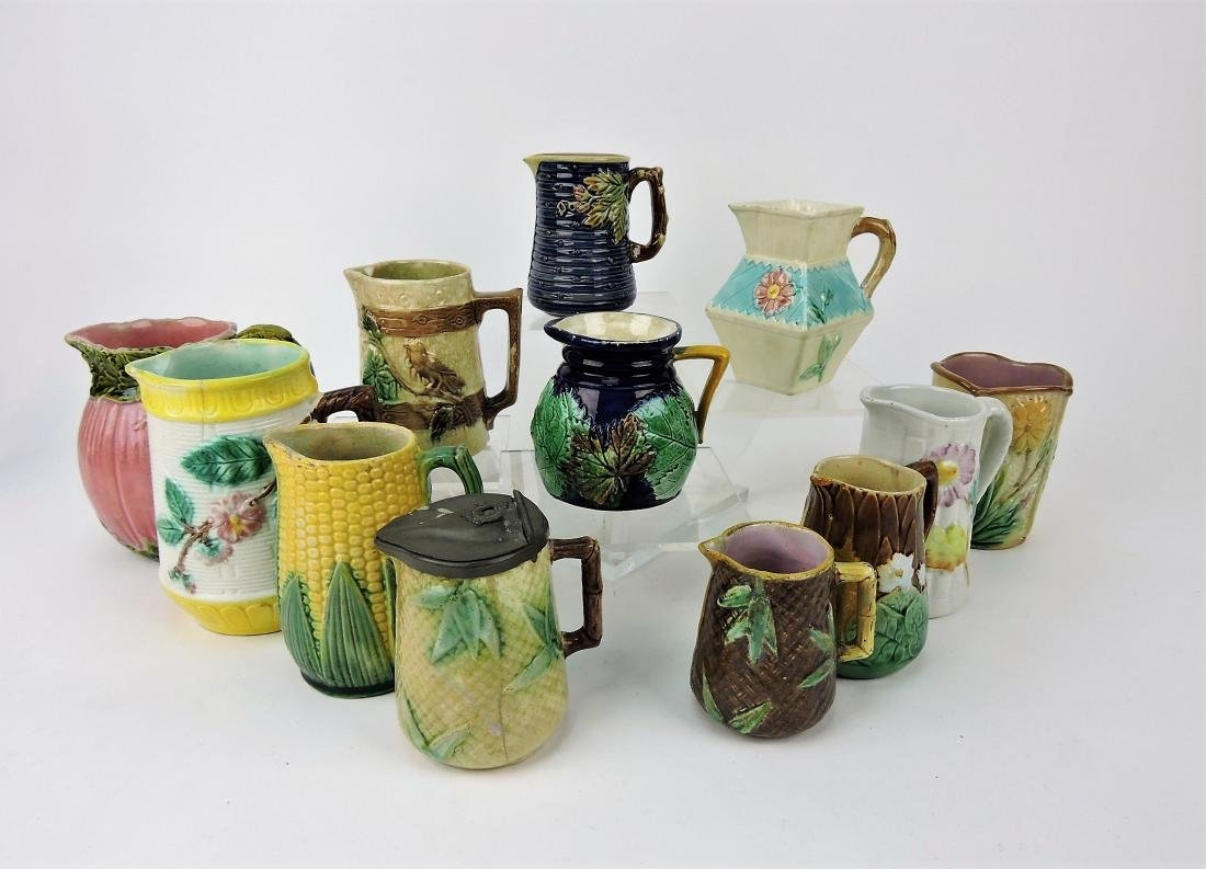 Majolica lot of 11 cream pitchers and