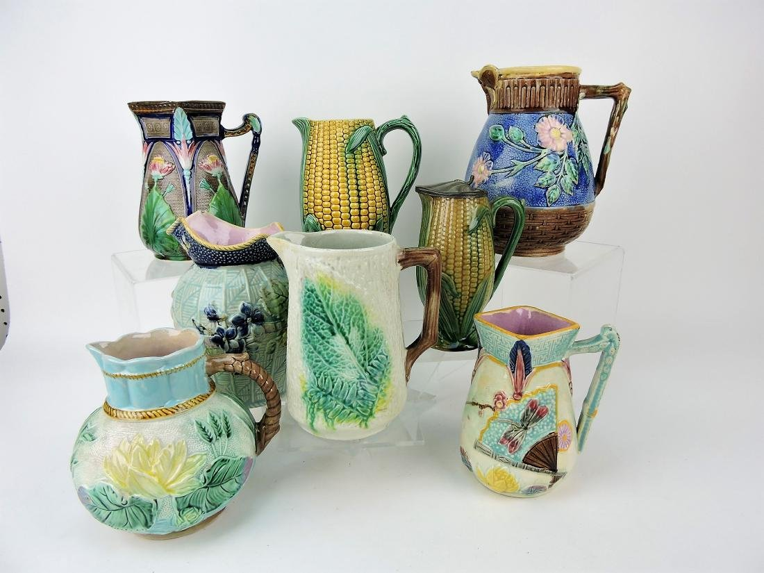 Majolica lot of 8 pitchers, various