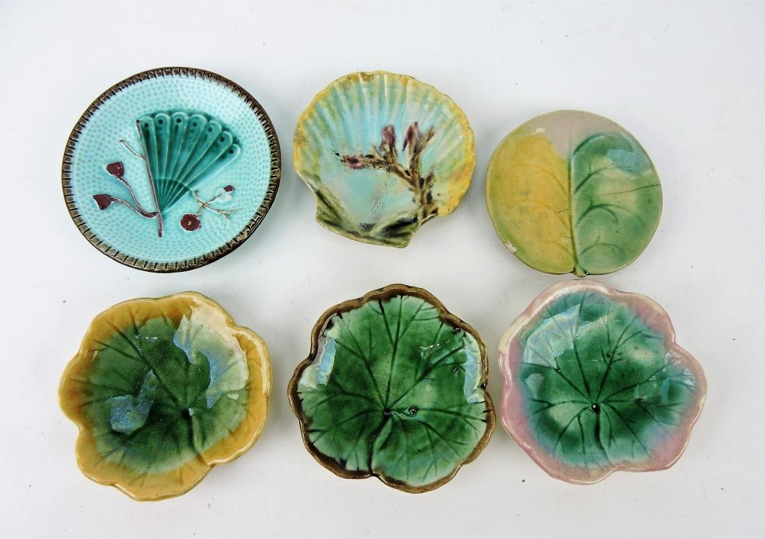 Majolica lot of 6 butter pats,