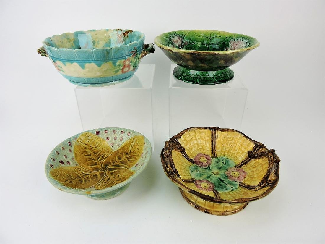 Majolica lot of 4 compotes,