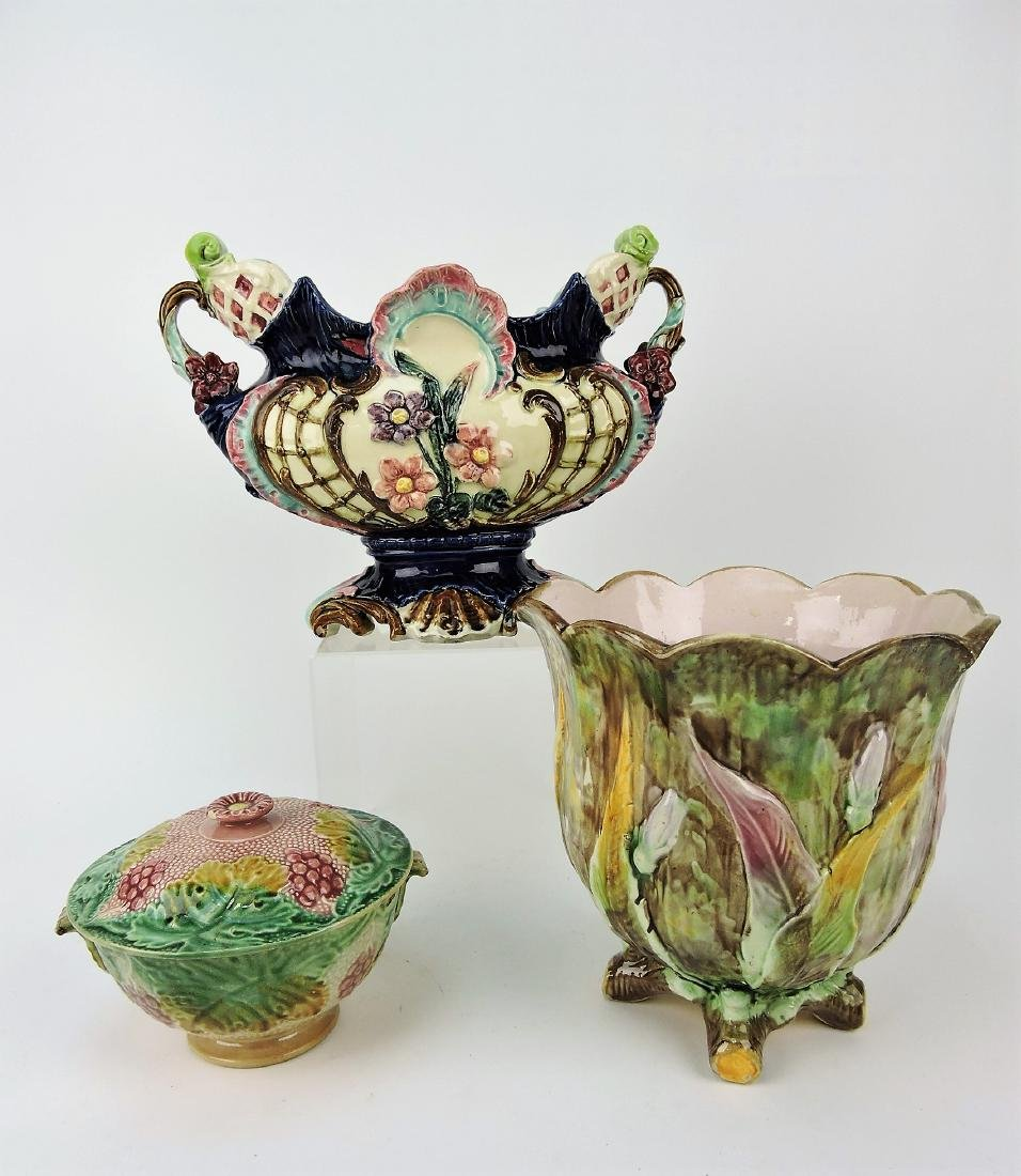 Majolica lot of 2 jardinieres and