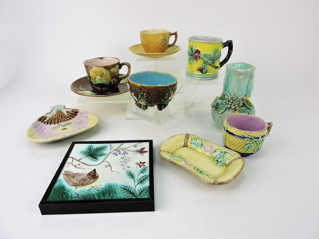 Majolica lot of 9 assorted pieces,