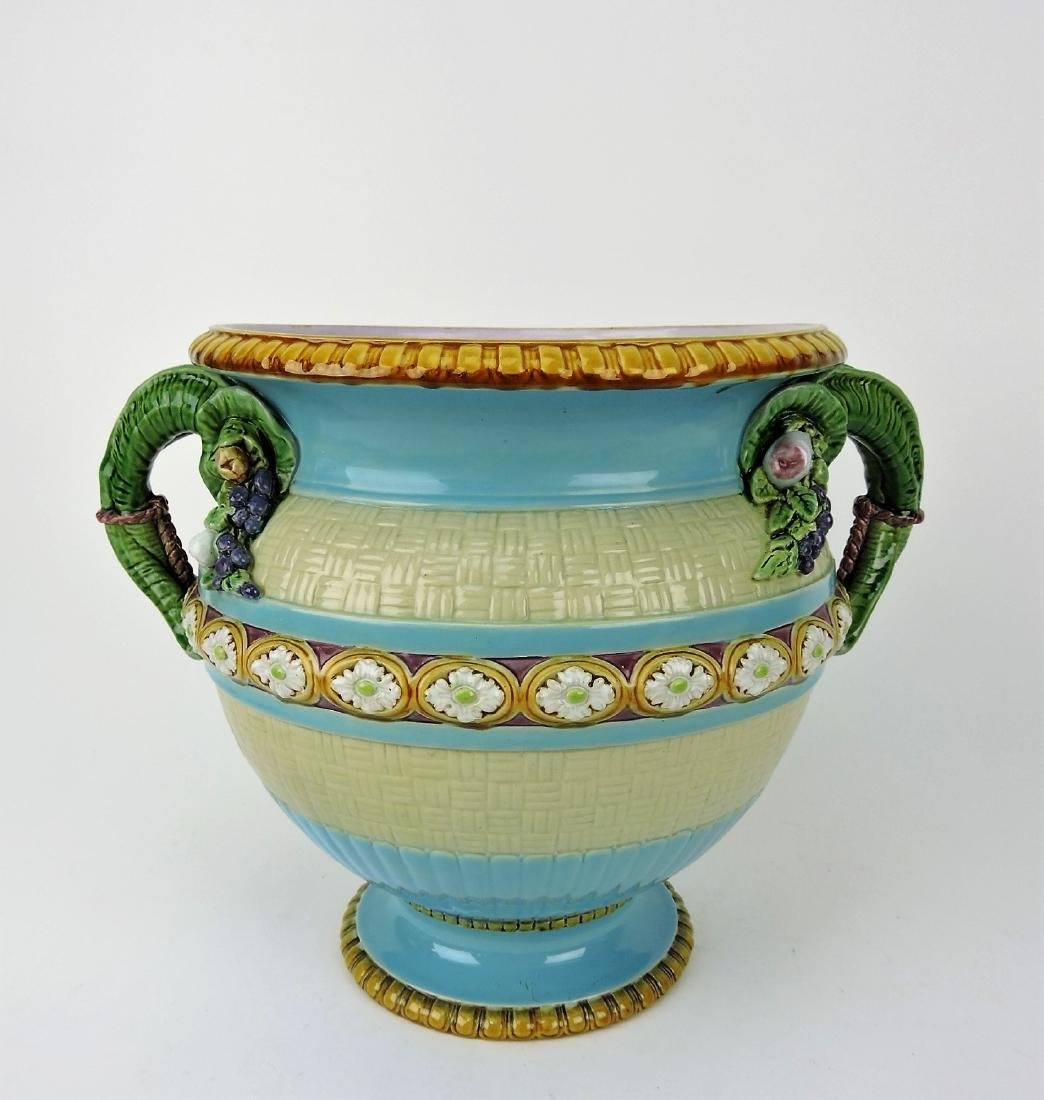 Minton Majolica wine cooler with vine