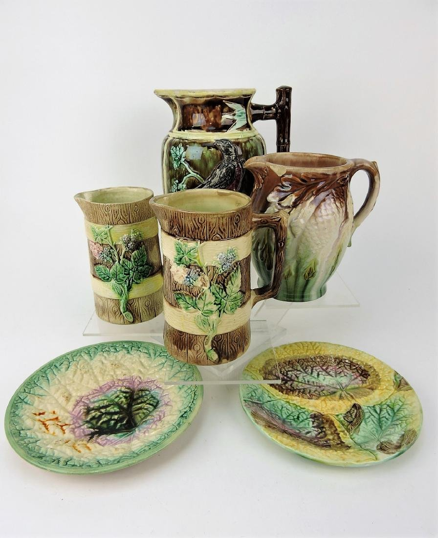 Majolica lot of 4 pitchers and 2