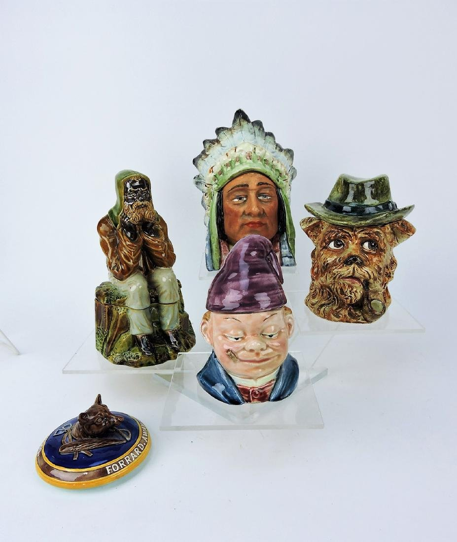 Majolica lot of 4 figural tobacco