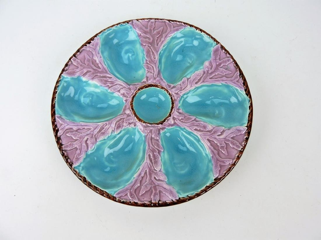 Fielding Majolica oyster plate with