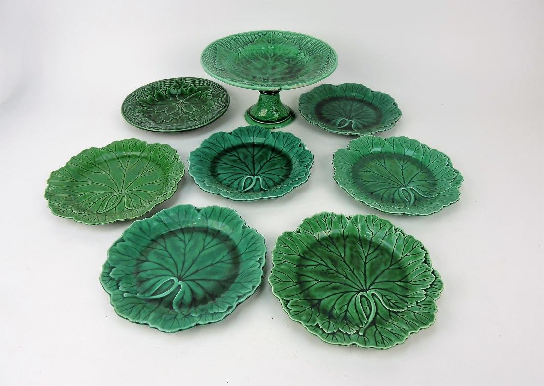 Majolica dark green lot of 7 plates