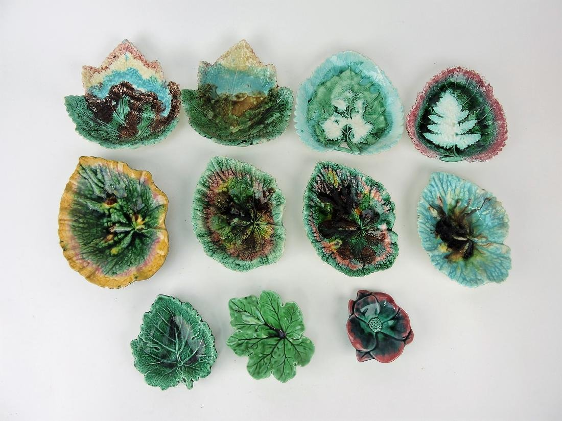 Majolica lot of 10 leaf trays, various