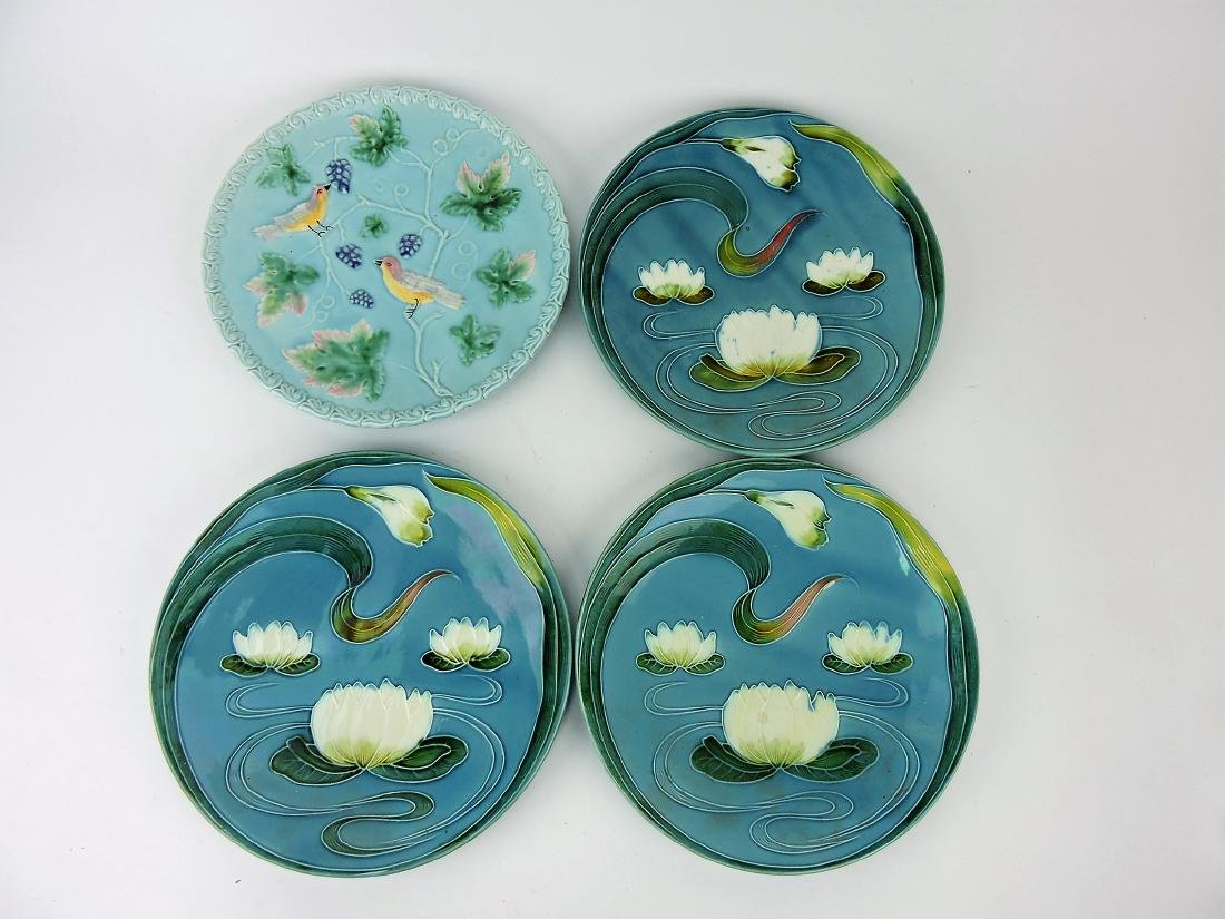 """Majolica lot of 4 large chargers, 12"""","""