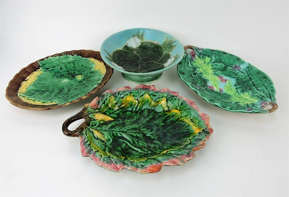 Majolica lot of 3 platters & one