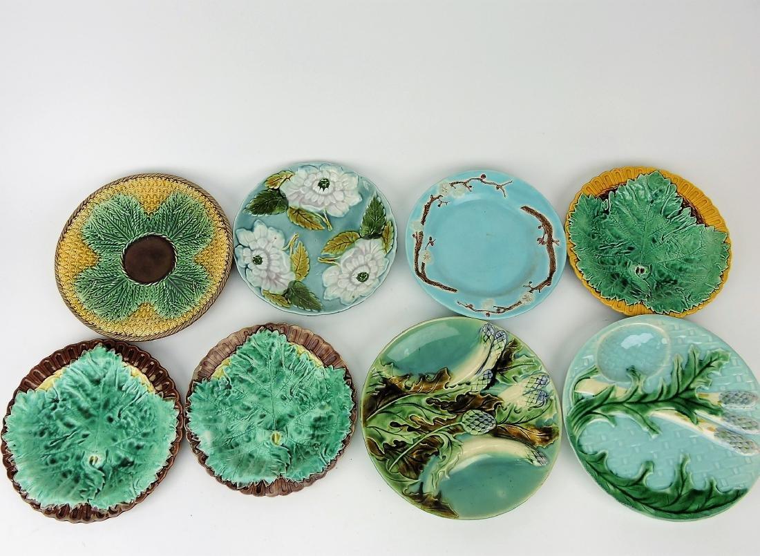 Majolica lot of 8 plates,