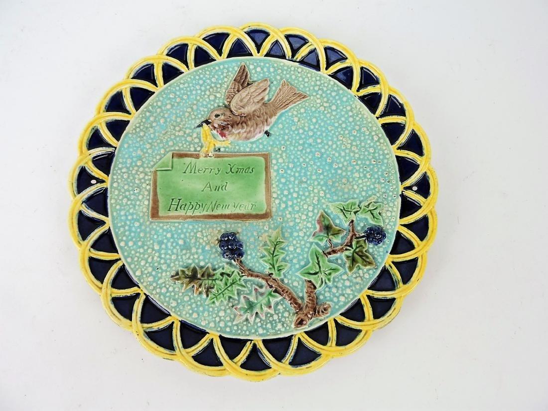 Eureka Majolica plate, bird with sign