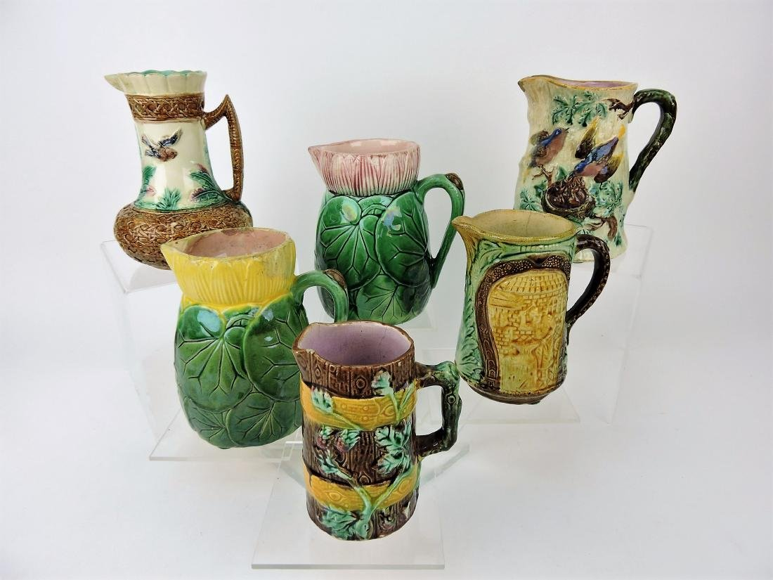 Majolica lot of 6 pitchers,
