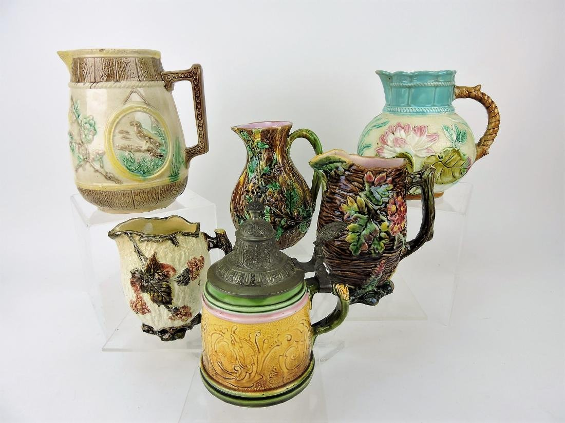 Majolica lot of 6 pitchers,