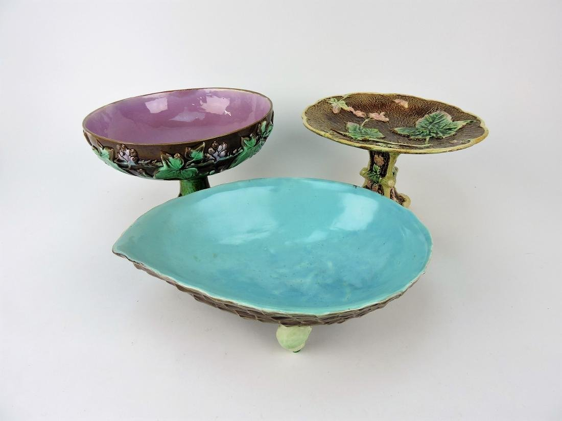 Majolica lot of 2 compotes and