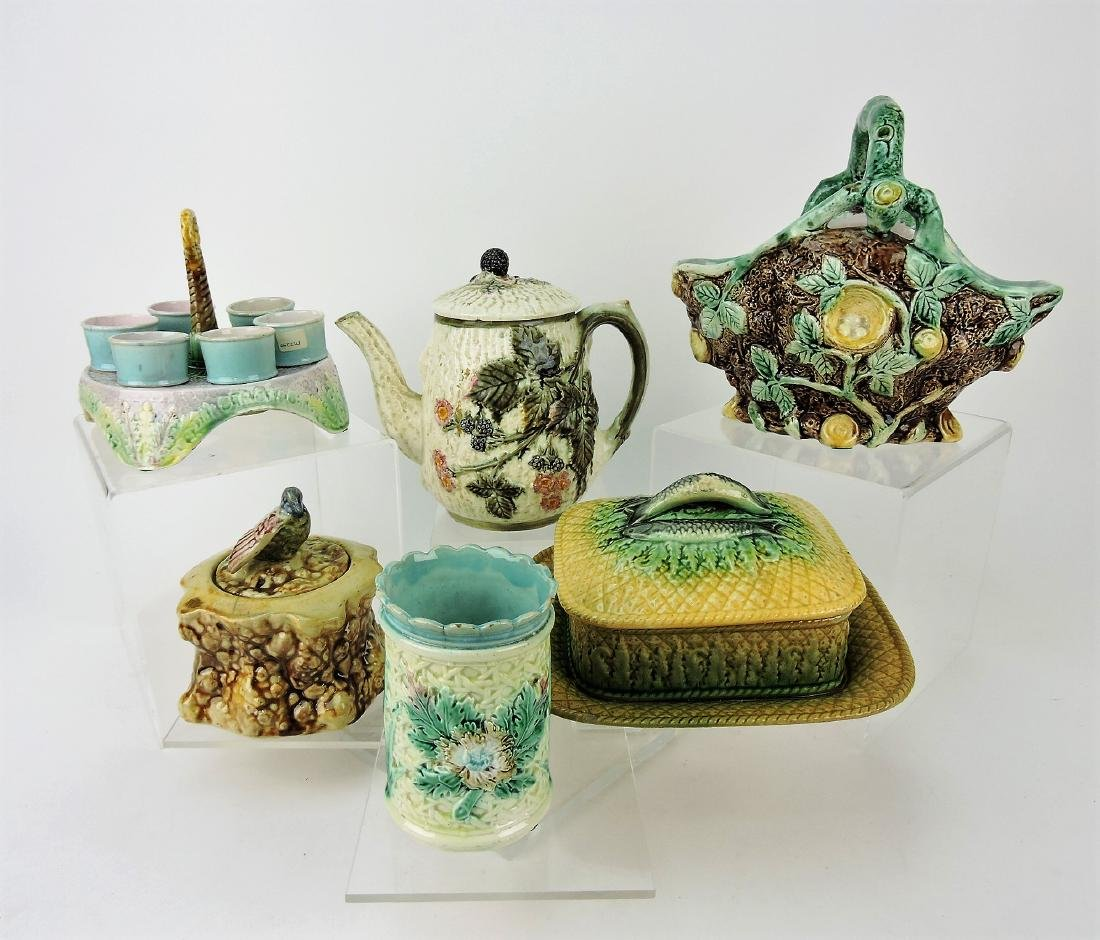 Majolica lot of 6 assorted pieces;