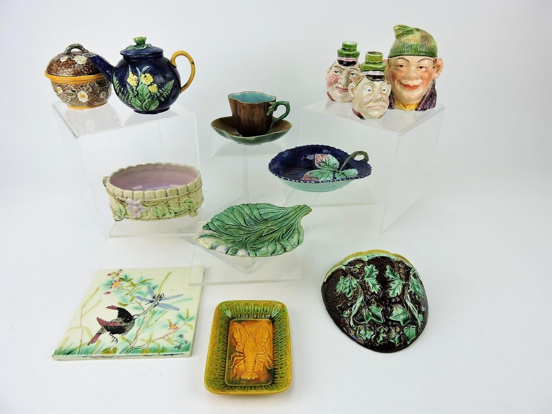 Majolica lot of  12 assorted pieces,