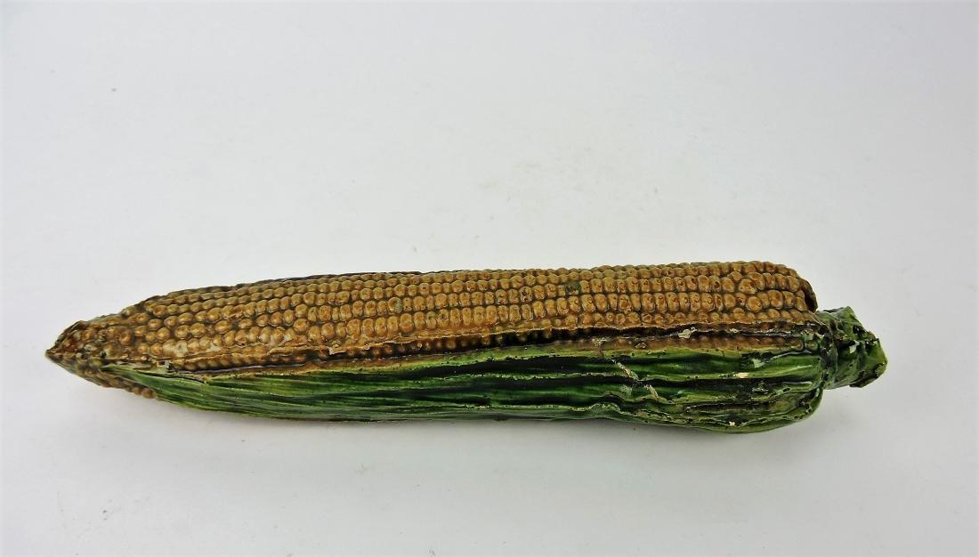 Majolica ear of corn money bank,