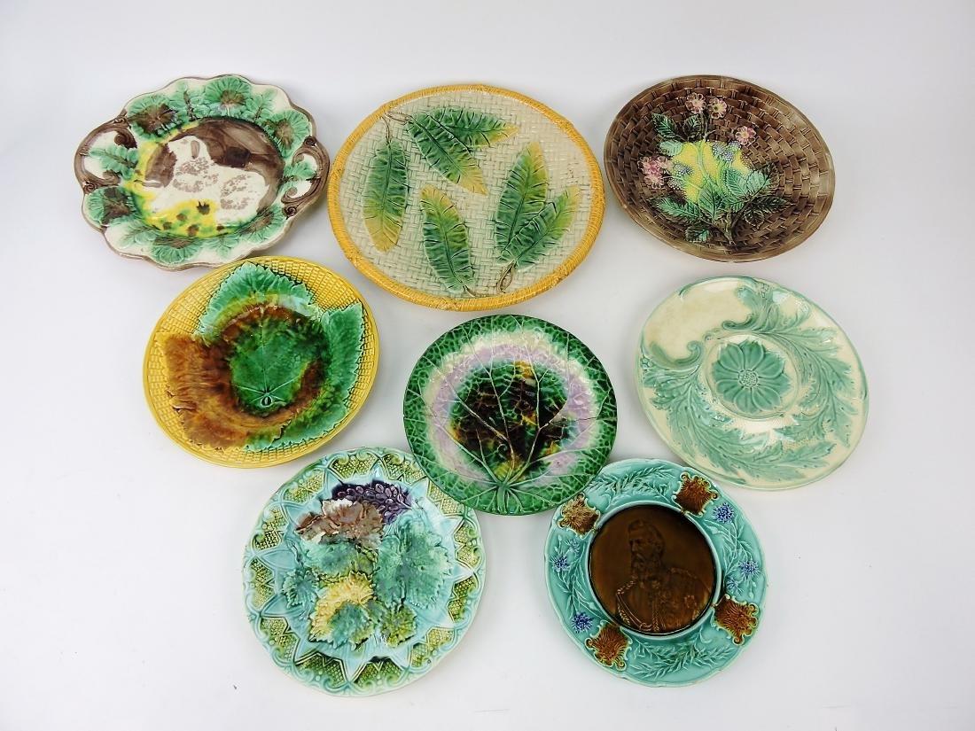 Majolica lot of 8 plates, various