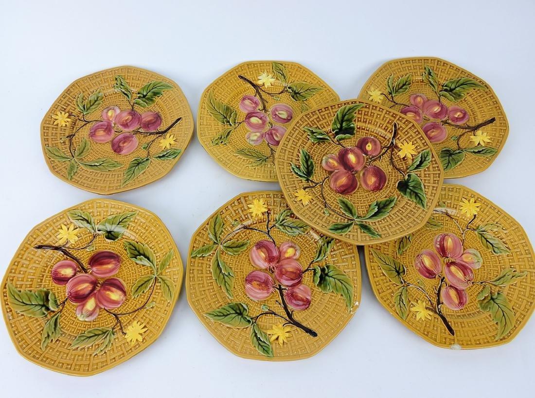 German Majolica set of 7 fruit plates,