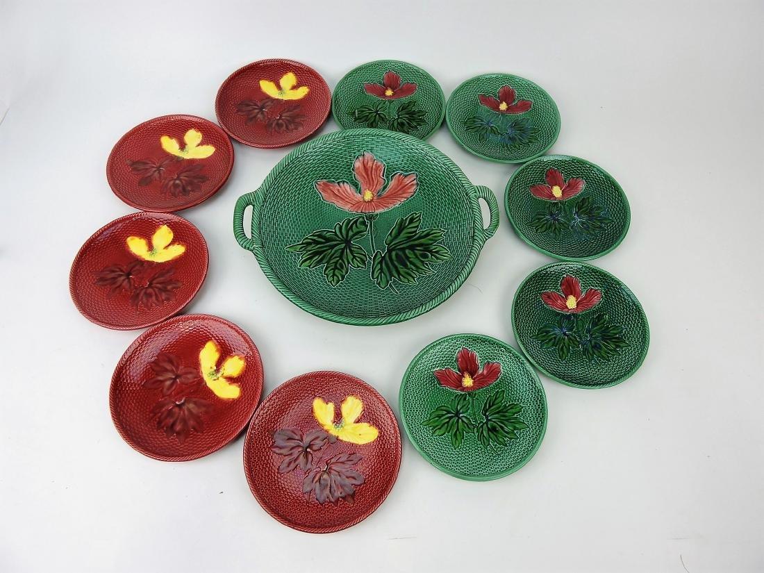 German Majolica 11 piece cake set,