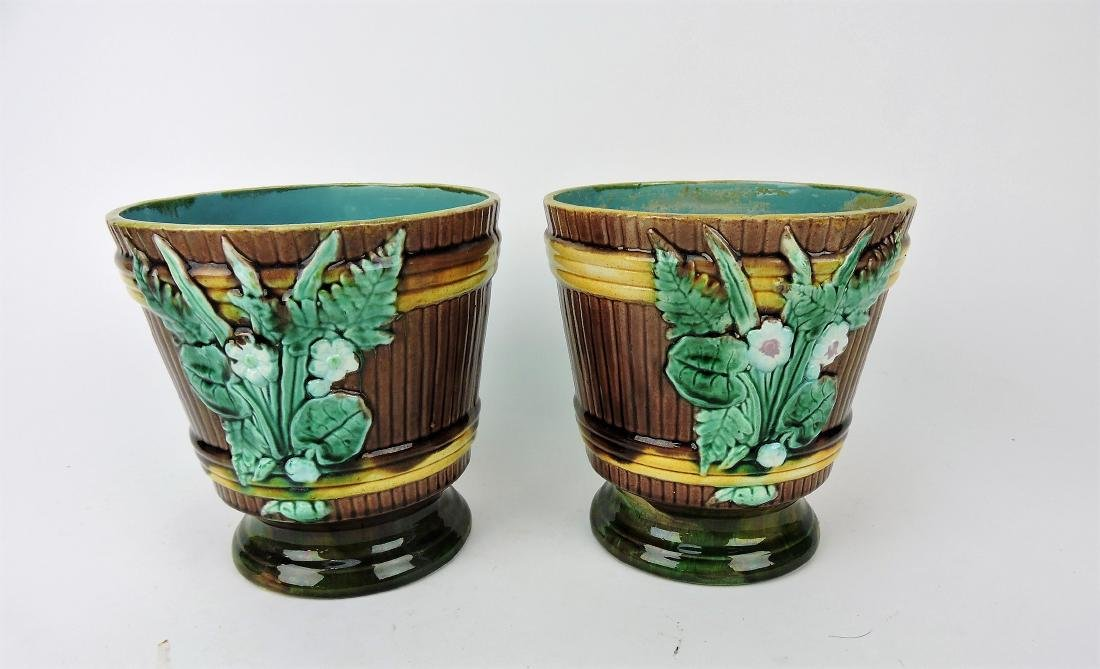 Majolica pair of cachepots, 7""