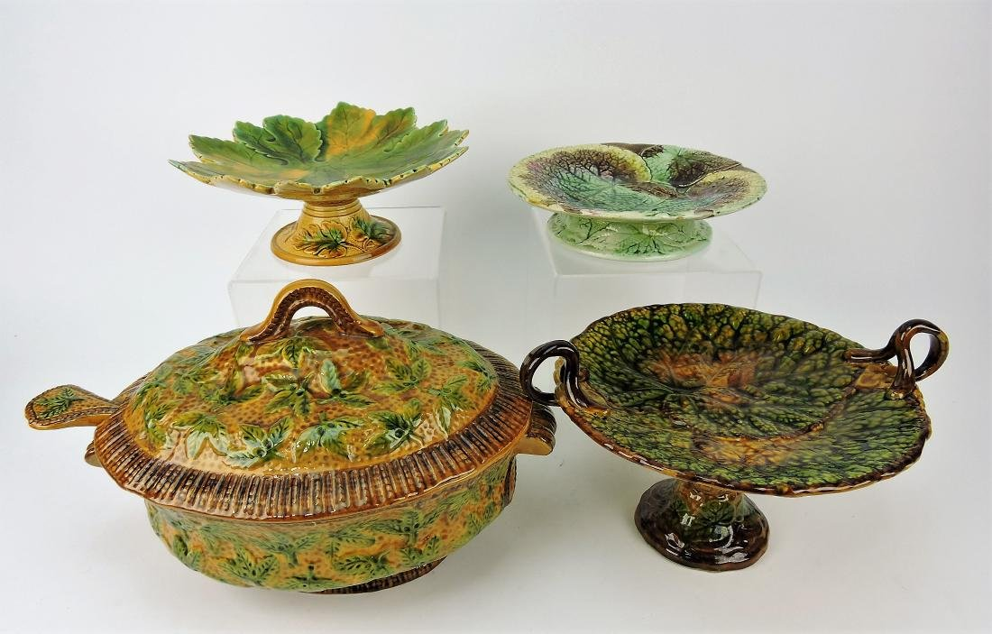 Majolica tureen with ladle and