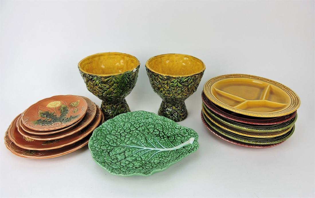 Majolica lot of 14 assorted pieces,