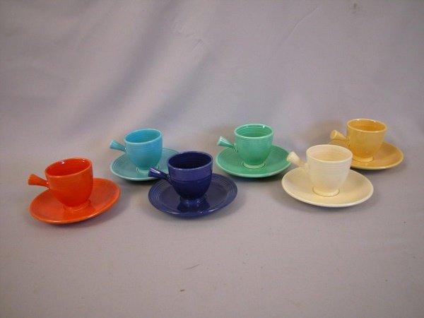 529: Fiesta Demitasse cup and saucer group, all 6 origi