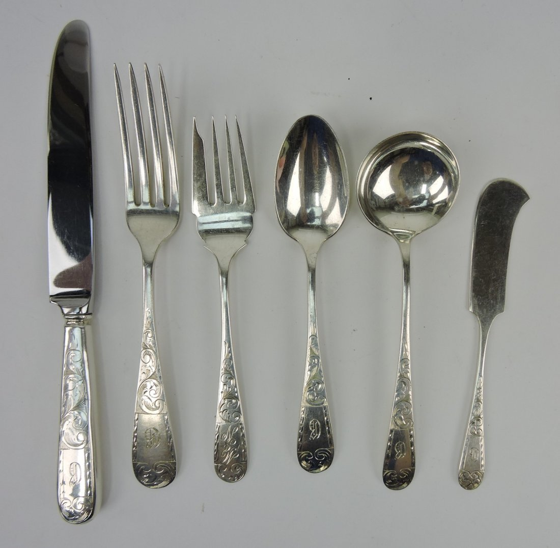 Sterling silver set of flatware, partial
