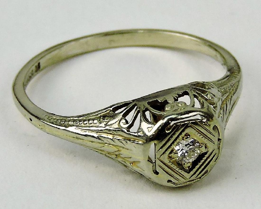 14kt white gold lady's antique filigree