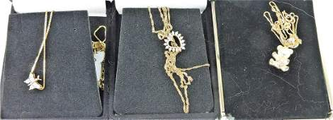 Lot of 3 lady's necklaces; 10kt