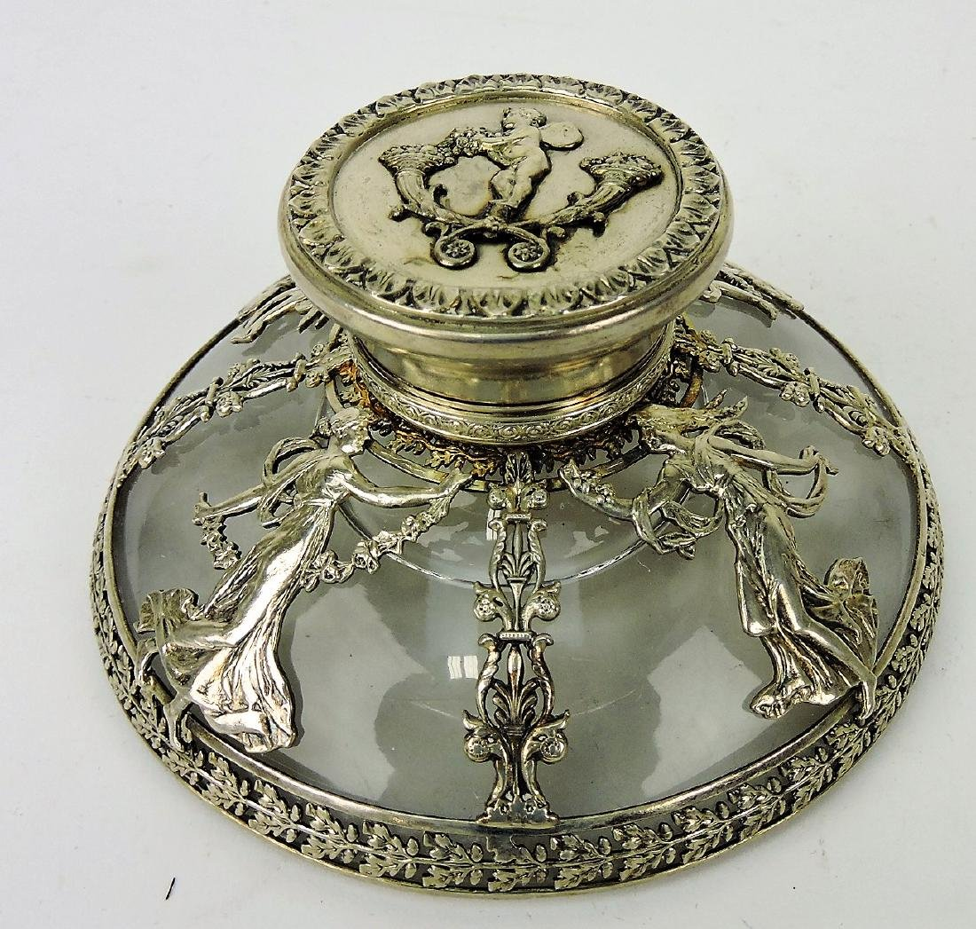 Silver and crystal elaborate inkwell
