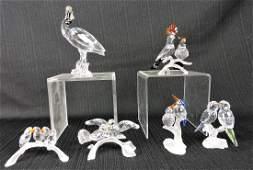 Swarovski lot of 6 bird crystals; King