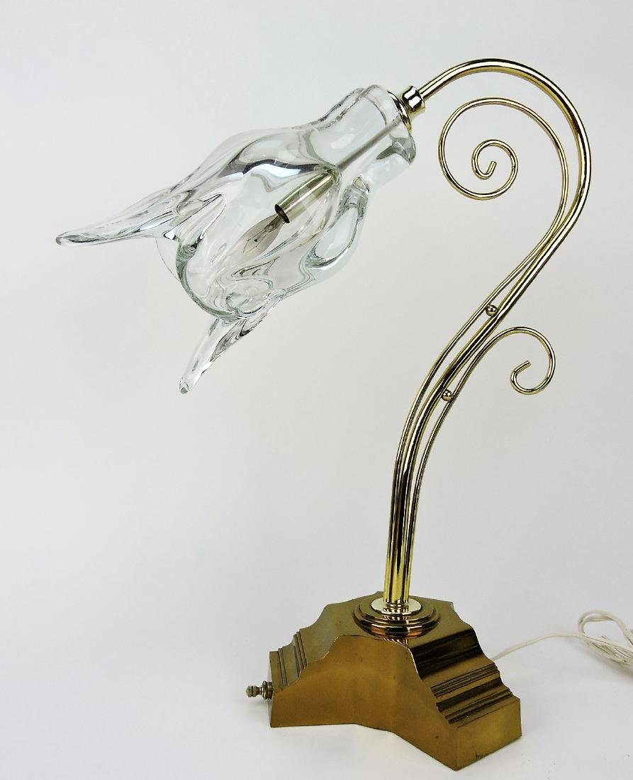 Brass desk lamp with clear glass