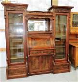 Rare walnut Victorian double bookcase