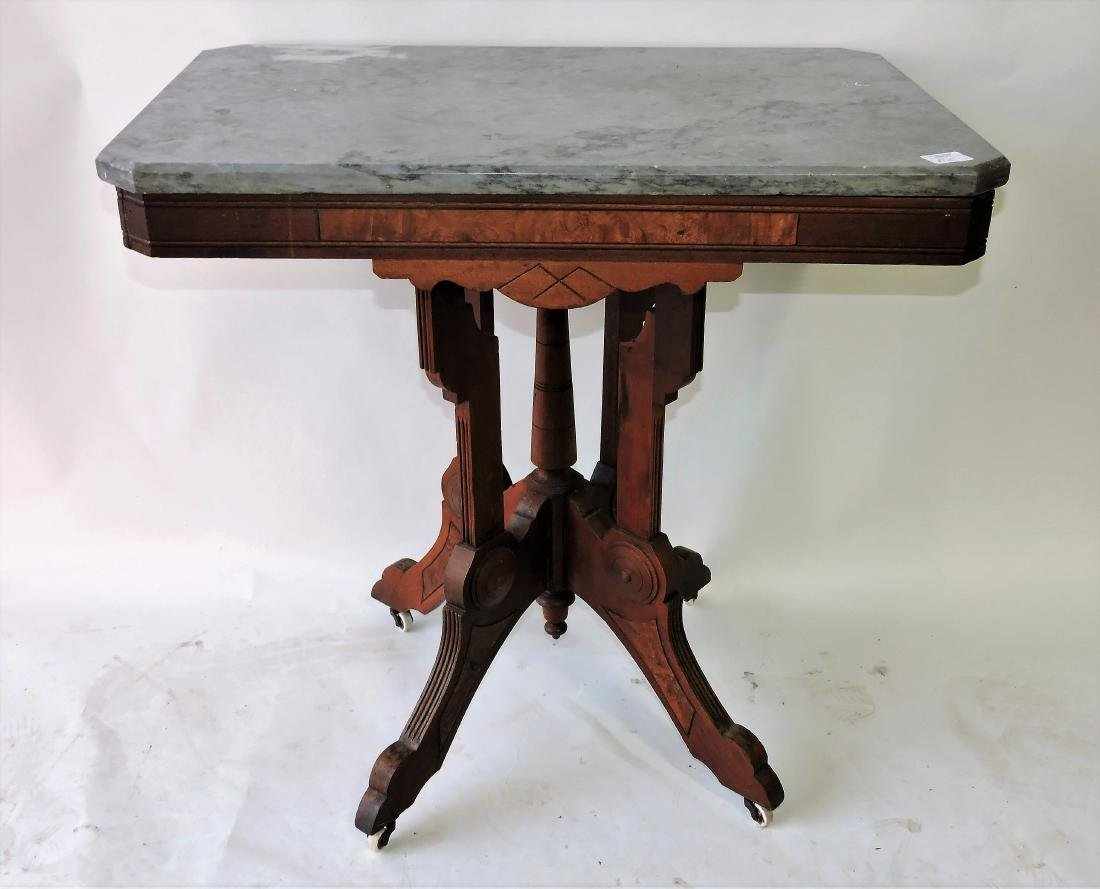 Walnut Victorian marble top parlor
