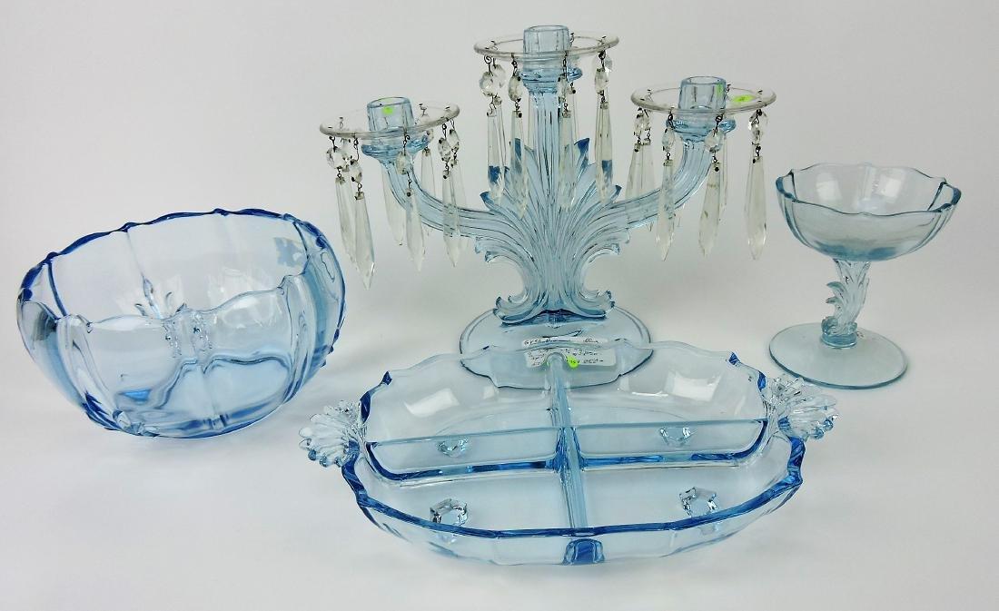 Fostoria blue Baroque lot of 4 pcs;