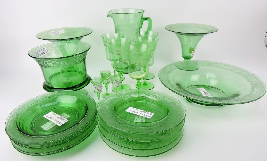 Fostoria green lot of 22 pcs; Royal,