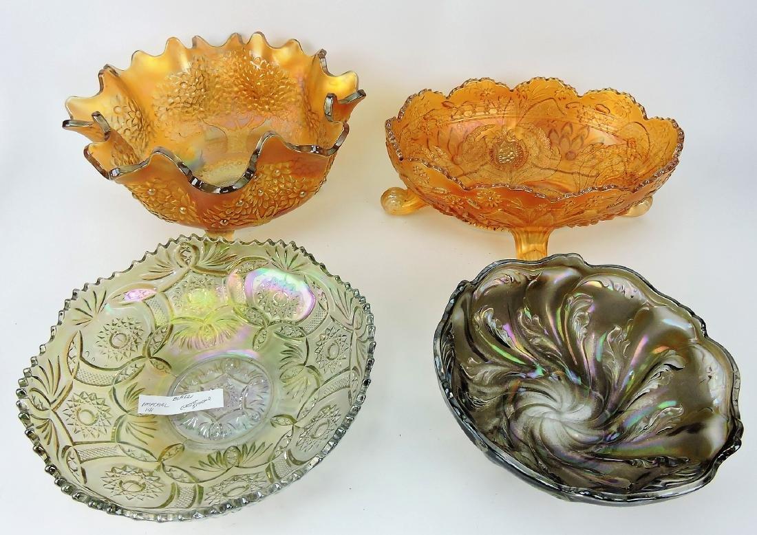 Carnival glass lot of 4 bowls; Fenton