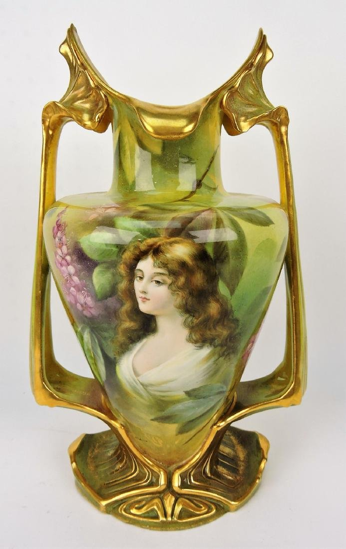 Royal Bonn artist signed portrait vase,