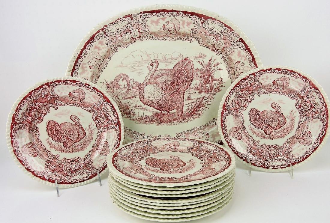 Red transfer Staffordshire turkey platter