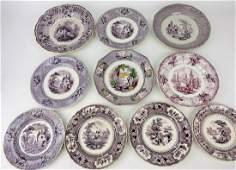 Mulberry transferware lot of 10 plates