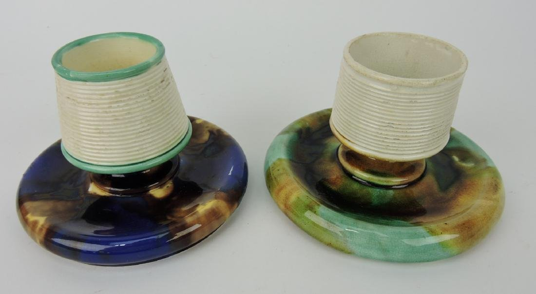 Majolica lot of 2 match strikers,