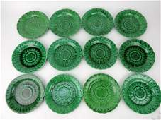 Wedgwood majolica dark green set